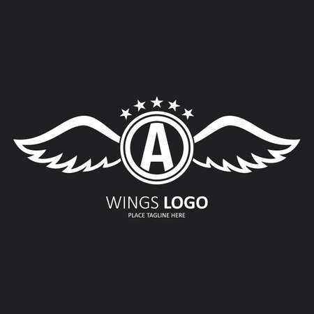 Initial letter A with wings icon design