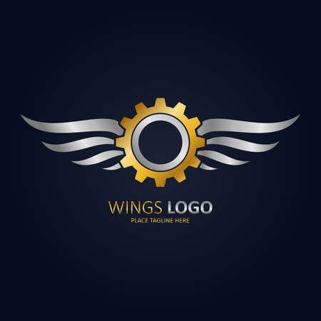 Engrenage ailé or avec icône ailes argentées