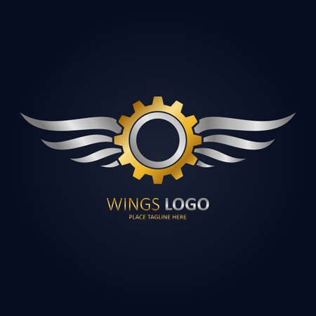 Gold winged gear with silver wings icon