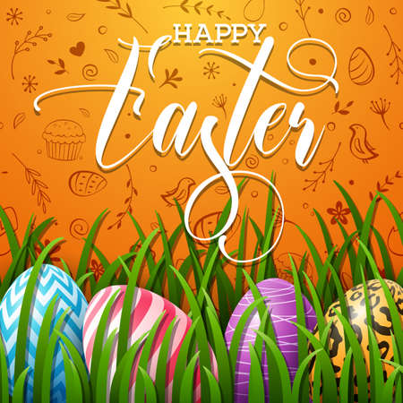 Happy Easter background with colored eggs in the grass and cute doodles on orange background Stock Photo