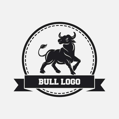 Black bull icon design template Banque d'images
