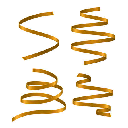 Set of gold curling streamers on white background