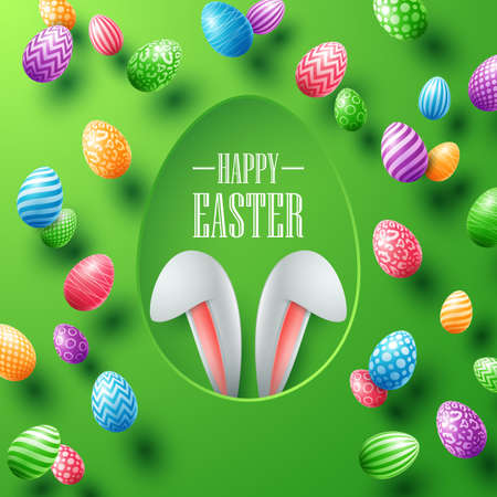 Happy Easter card with bunny ears hiding in egg hole and colorful eggs on green background