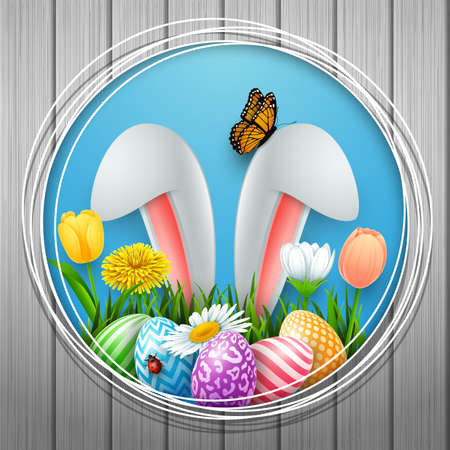 Easter round frame with colorful eggs, bunny ears, flowers, grass, and insects on wood wall background