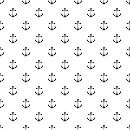 Seamless pattern with icons of anchors on a white background Banque d'images