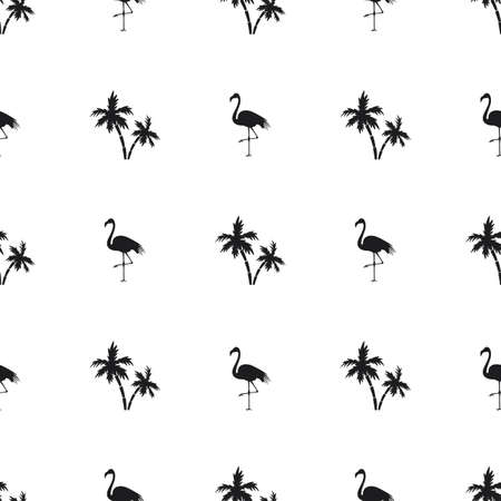 Seamless flamingos and palm trees on white background