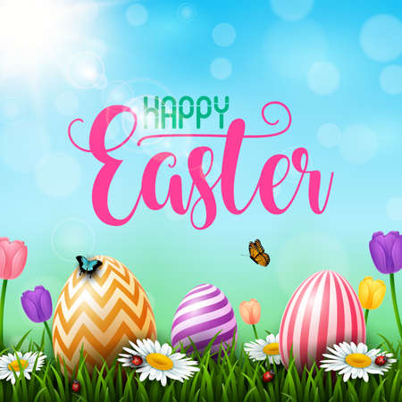 Colorful Easter eggs with flowers and insects on the grass Stock Illustratie