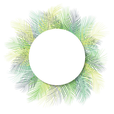 Tropical green palm leaves with white round frame place for text isolated on white background