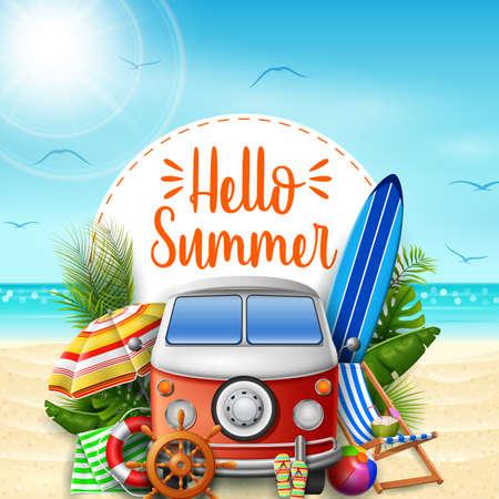 Hello summer. Summer vacations. Camper van on the beach.