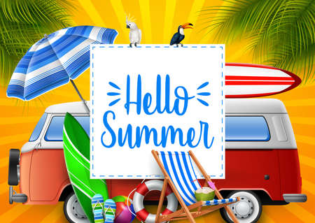 Hello summer. Camper van. Stock Illustratie