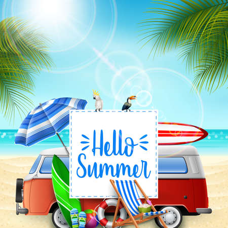 Hello summer banner background with a camper van, birds, and beach elements
