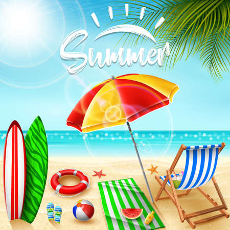 Summer holidays background Illustration
