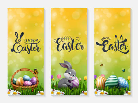 Collection of Easter banners with Easter eggs, little bunny, and basket in the grass