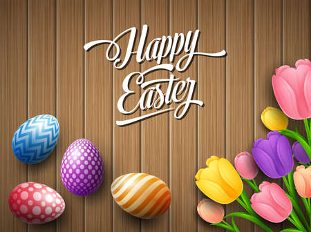 Happy Easter colorful egg with tulips flower beautifully above wooden brown background