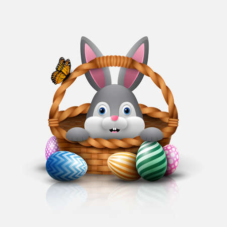 Cute Easter bunny in a basket with colorful eggs on a white background