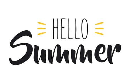 Hand drawn lettering composition of hello summer with a sun