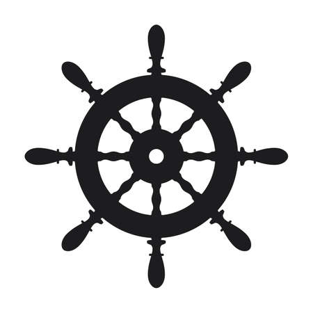 Ship steering wheel icon on white background 일러스트