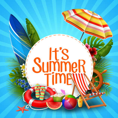 It's summer time banner design with white circle for text and beach elements