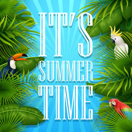 It's summer time typography wooden background with tropical plants, flowers, palm leaves, parrot and cockatoo