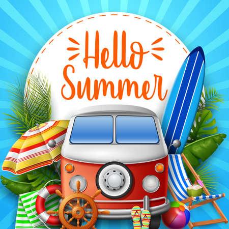 Hello summer. Camper van. Illustration