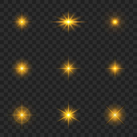 Gold light effect. Starburst with sparkles on transparent background.