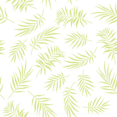 Tropical palm leaves seamless pattern on a white background