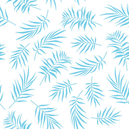 Tropical Seamless floral pattern background with palm leaves. Illustration