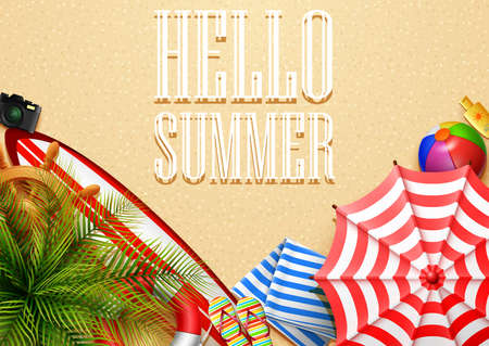 Hello summer time holiday banner. Top view of tropical leaves and beach element collections on sand background