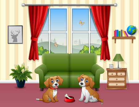 Cute two dogs sitting in the living room Vectores