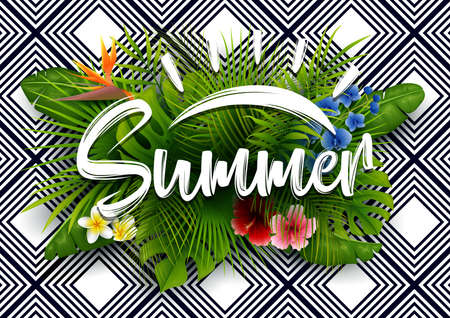 Green summer with tropical leaves and flowers. Vector striped background
