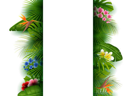Green tropical leaves and flowers. Vertical Banner background