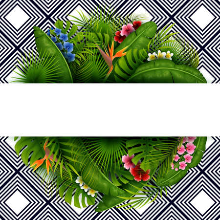 Green summer with tropical leaves and flowers