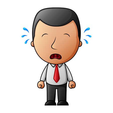 Empresario de dibujos animados llorando triste con lágrimas