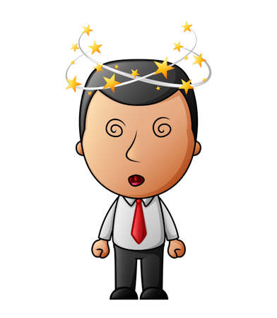 Cartoon Businessman with flying stars spinning around his head