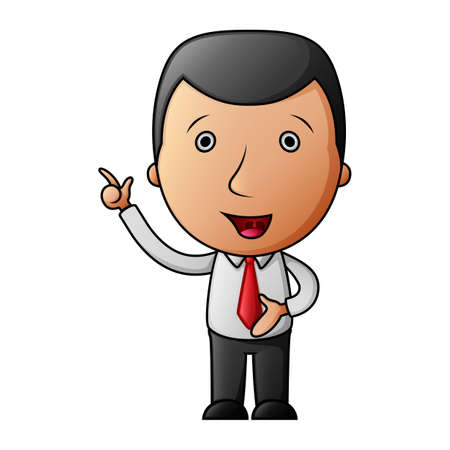 Cartoon happy businessman pointing his finger up