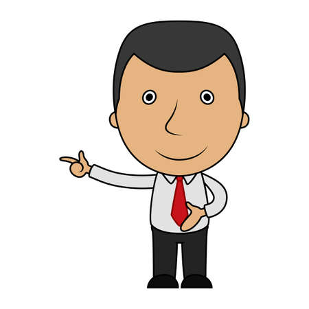 Cartoon happy businessman pointing his finger