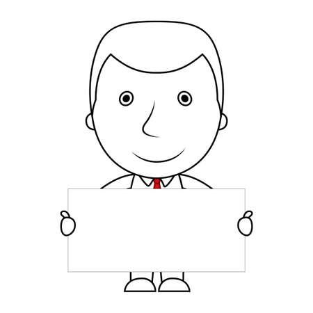 Businessman line cartoon face sad expression holding a blank sign