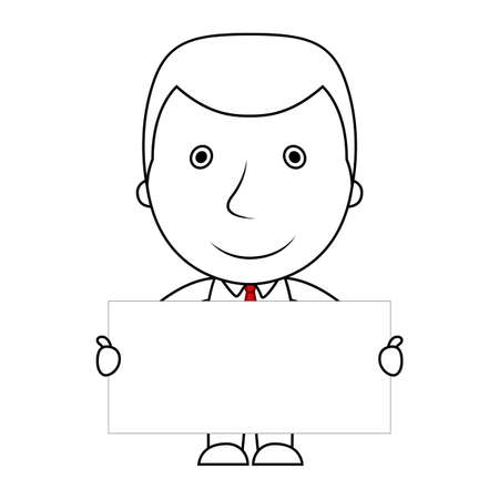 Businessman line cartoon face sad expression holding a blank sign