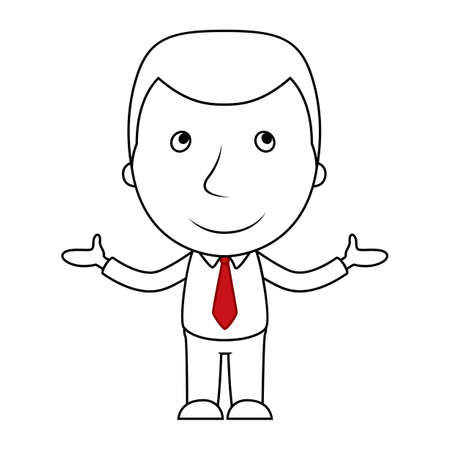 Smiling businessman line cartoon opens his arms