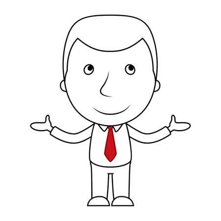 Dibujos animados de línea de empresario sonriente abre sus brazos