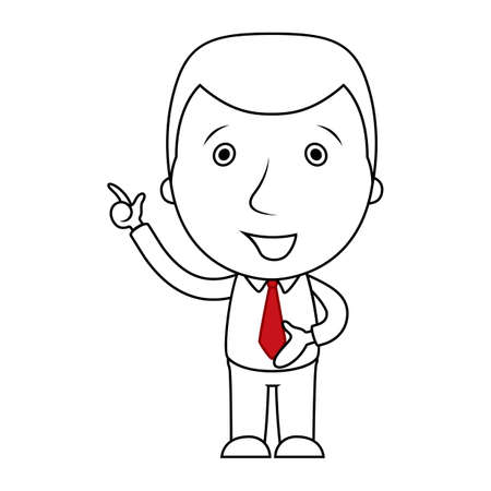 Businessman line cartoon pointing his finger up