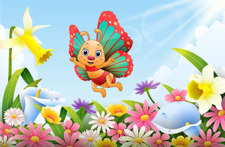 Cartoon bee flying over flower field  イラスト・ベクター素材