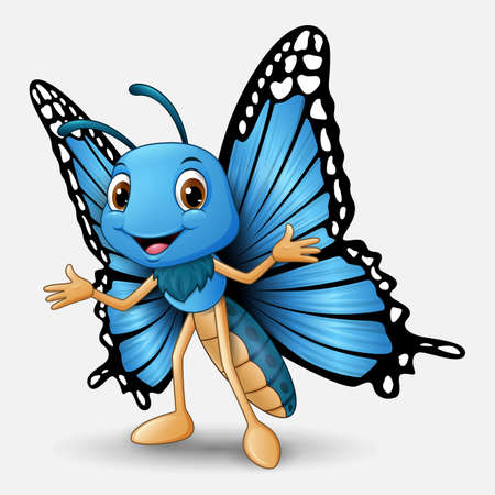 Cute butterfly cartoon on white background  イラスト・ベクター素材