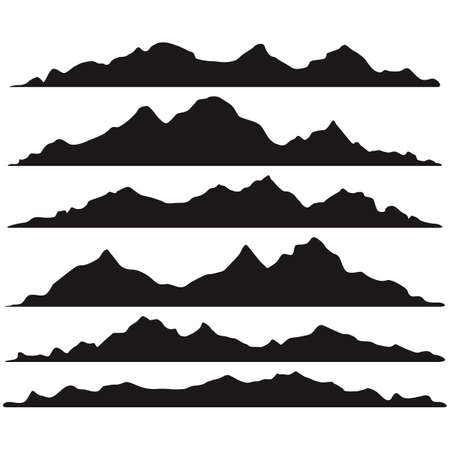 Mountains silhouettes on the white background Illusztráció