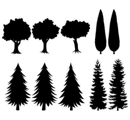 黒いシルエットの木のセット
