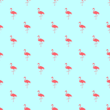 Flamingo seamless pattern on mint green background.