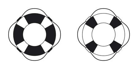 Set of lifebuoy icon black and white on white background