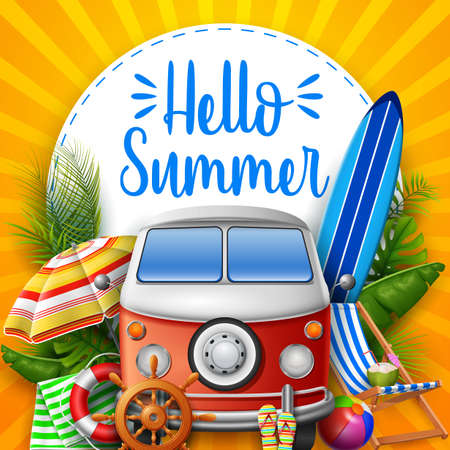 Hello summer. Camper van. Stockfoto