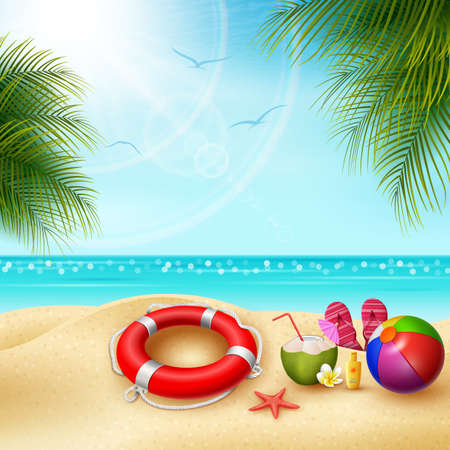 Its summer time. View of stuff on the beach - ball, lifebuoy, slipper and starfish on a sunny summer day Imagens