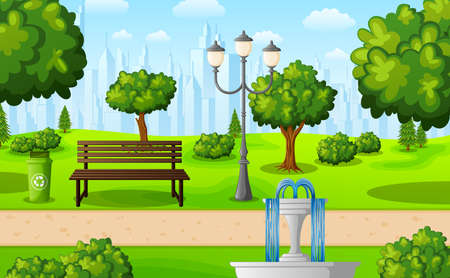 Vector illustration of Green city park with bench and fountain